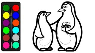 penguin coloring drawing easy pages draw toddlers