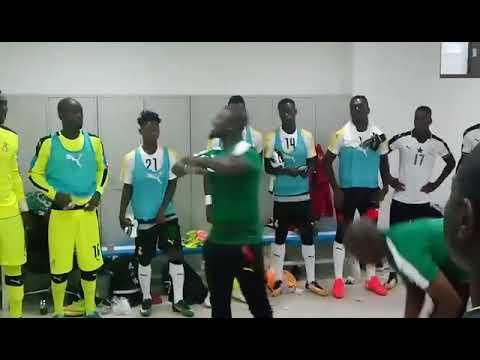 Black Stars technical coordinator Stephen Appiah team talk before Congo World Cup qualifier