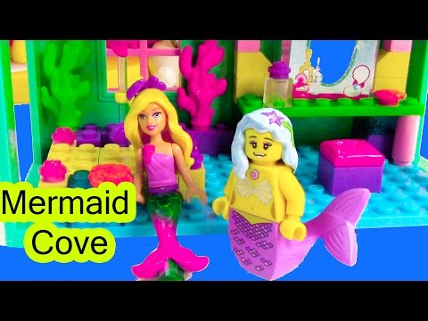 Thumbnail: Mermaid Barbie Underwater Cove Home Playset Mini Doll Mega Bloks Lego Toy Opening