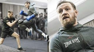 Конор показал как будет бить Хабиба в реванше / Закрытая тренировка Конора Макгрегора в Москве