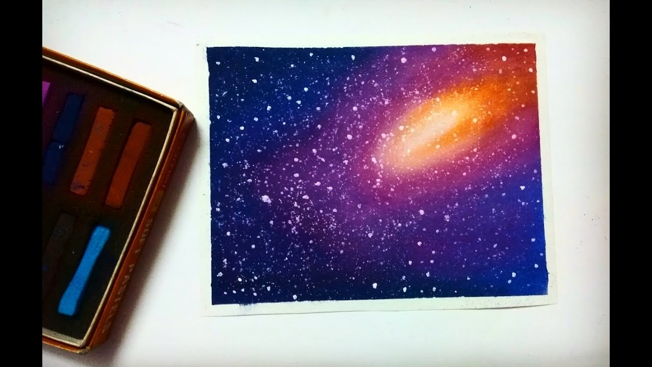 Simple Galaxy Drawing With Soft Pastels Youtube