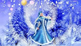 HD Footage Футаж Фон для видеомонтажа Красавица русская бродит зима