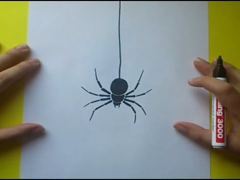 Como dibujar una araña paso a paso 3   How to draw a spider 3