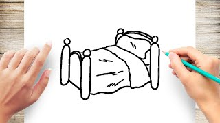How to draw a Bed Step by Step   Bed Drawing Lesson
