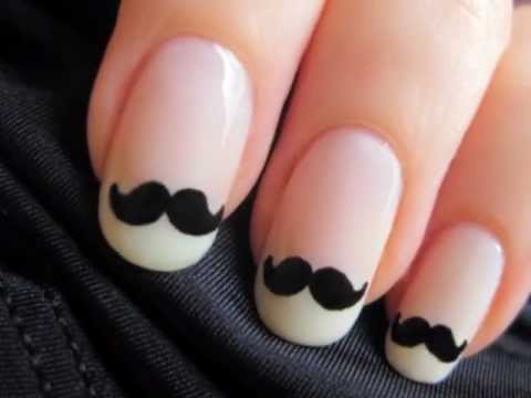 Cute mustache nail art youtube cute mustache nail art prinsesfo Choice Image