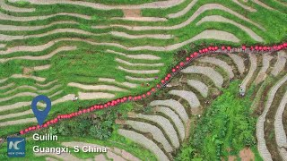 Tying the knot on Guilin's rice terraces!