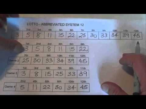 How to Play Lotto With an Abbreviated System 12 - Lotto Wheeling - Step by Step Instructions