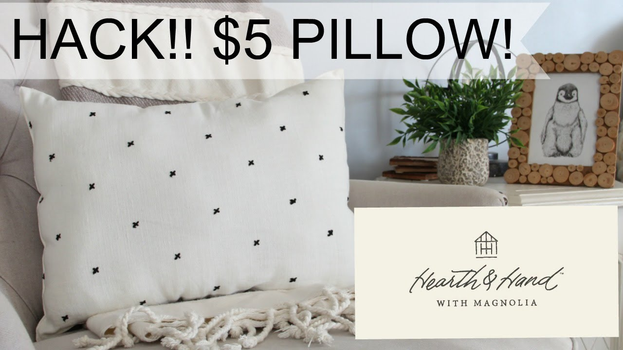 how to get a hearth hand pillow for 5 diy hearth and hand magnolia pillow youtube. Black Bedroom Furniture Sets. Home Design Ideas