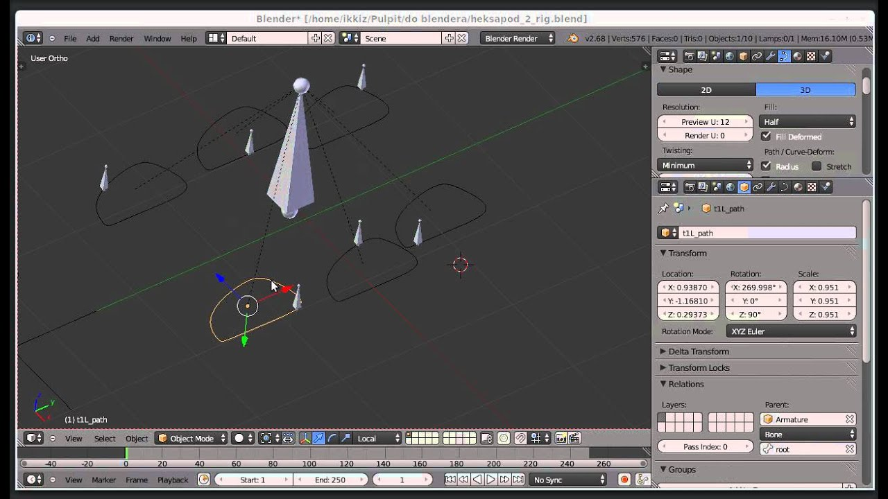 Hexapod (insect) walk cycle using constraints, speed by offset