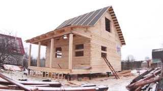 Древцентр Дом из бруса 6х6 за 7 дней(Процесс постройки дома из бруса 6 на 6 метров с верандой и мансардным этажом