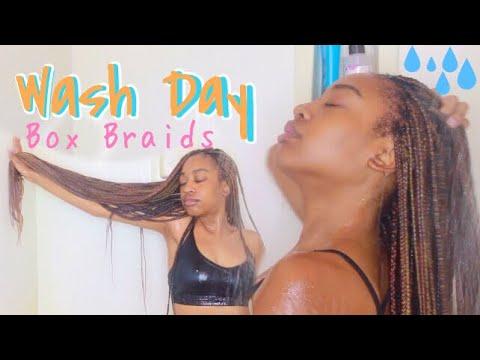 How To Wash Box Braids NO FRIZZ + Drying Hacks! | WASH DAY ROUTINE
