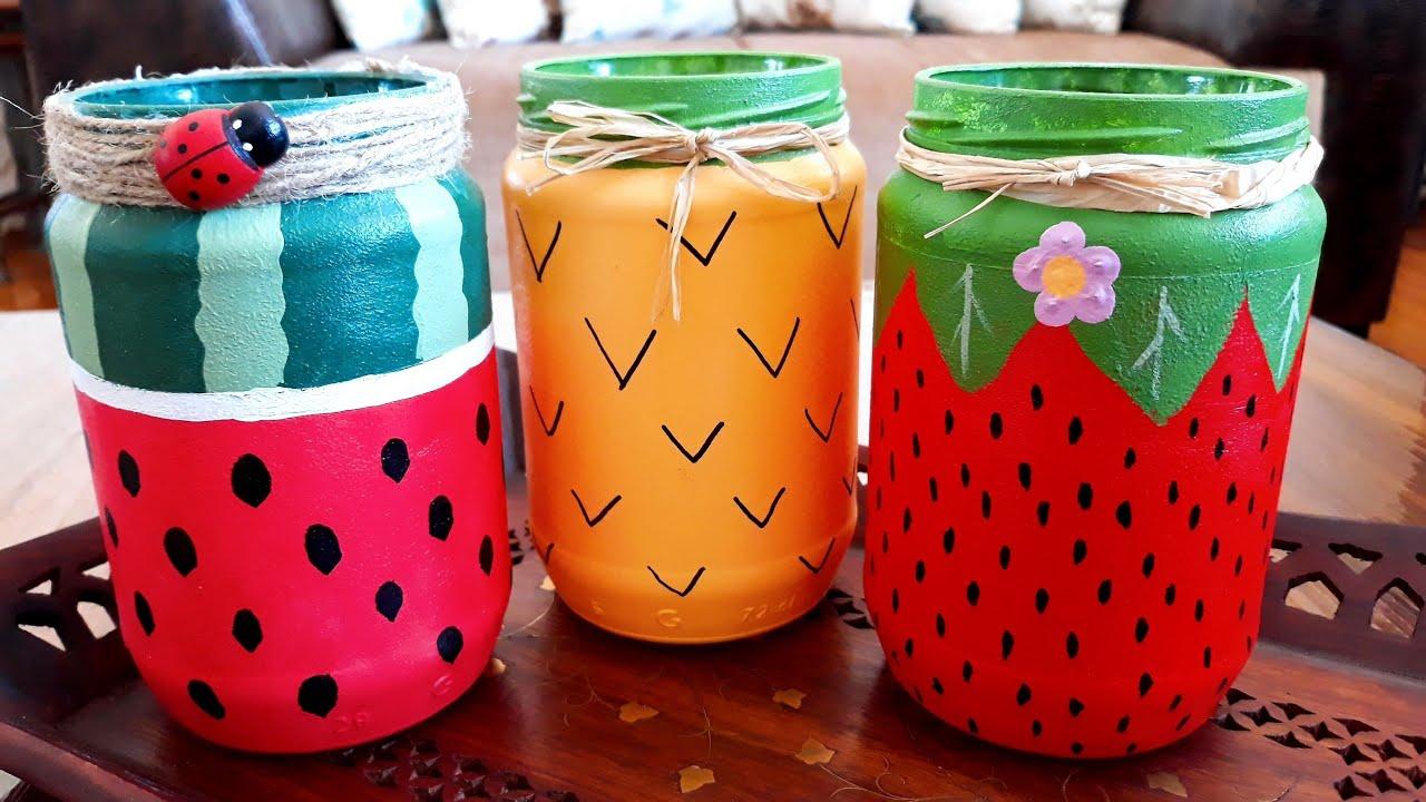 Meyve Desenli Kavanoz Boyama Diy Kendinyap Jar Painting