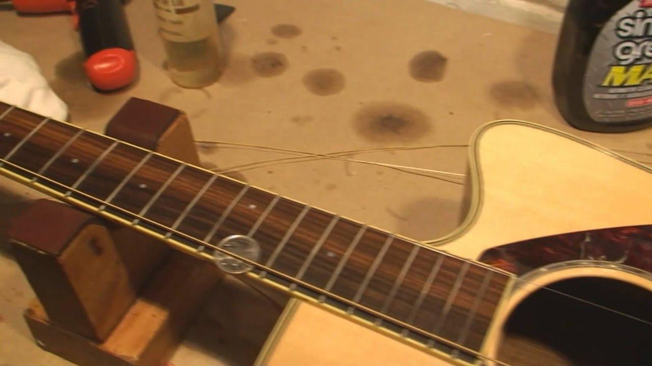 Acoustic Guitar Bridge Saddle Shave Youtube