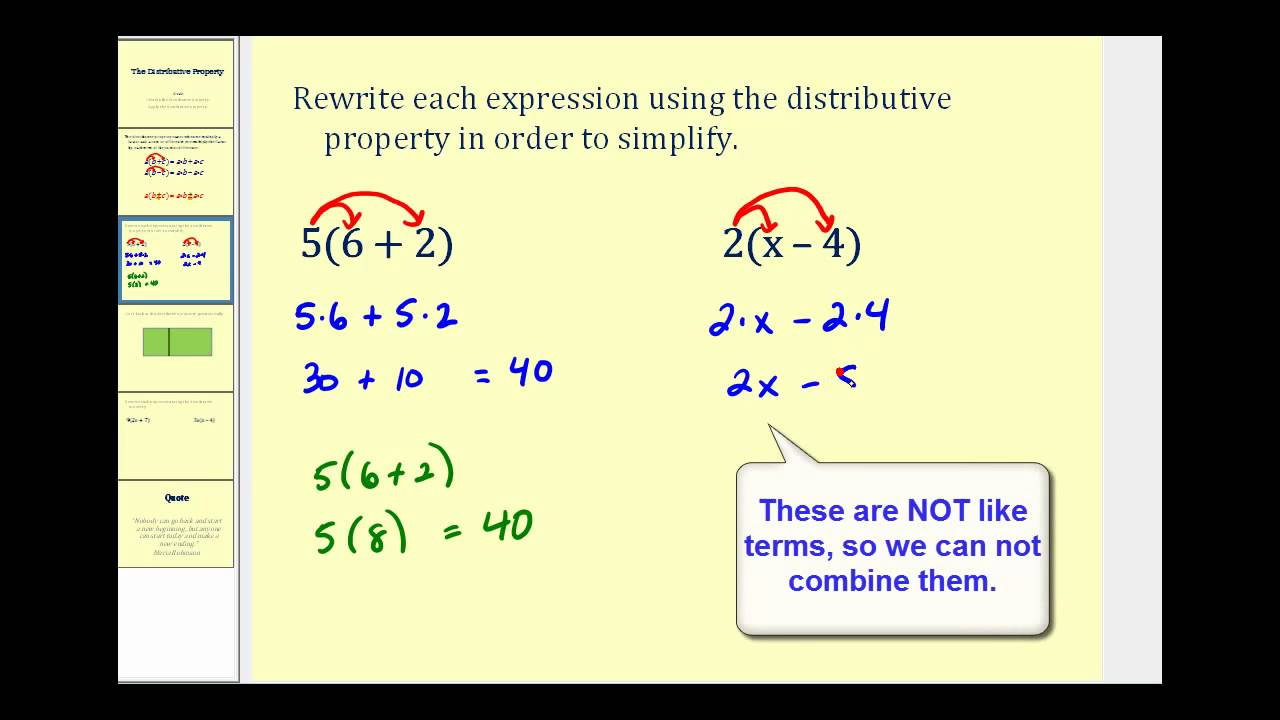Introduction to the Distributive Property - YouTube