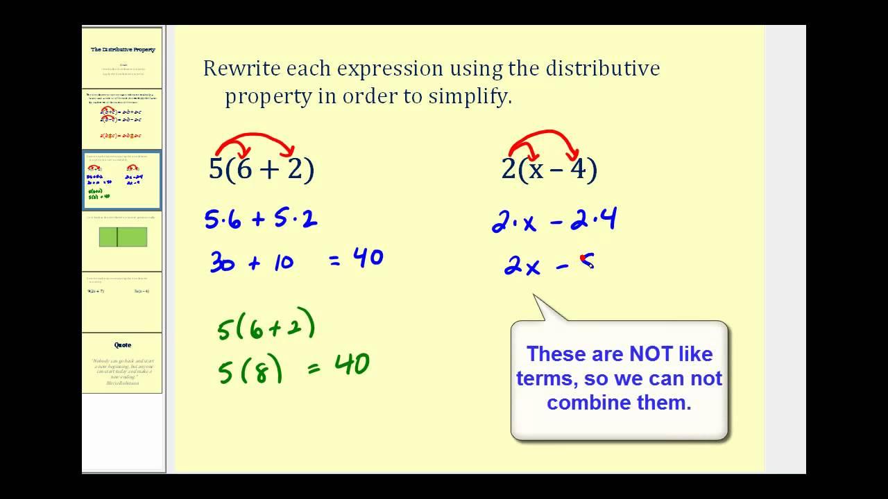 Worksheet Distributive Property For 5th Grade introduction to the distributive property youtube property