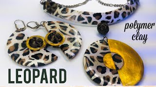 DIY. Modern Faux LEOPARD EARRINGS AND NECKLACE. Made from  Polymer Clay.