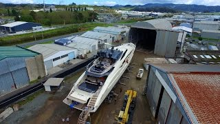 Oceania Marine Drone Video of Re-launching of 46M Superyacht ' Vantage