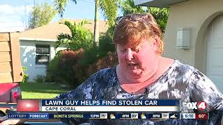 Lawn guy finds stolen car thanks to unique bumper sticker