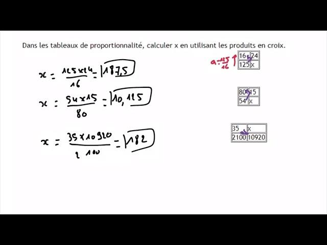 Produit en croix - Exercices Maths Corrigés