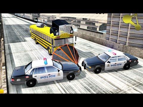 Crazy BUS Police Chases (Machine gun) BeamNG.Drive  