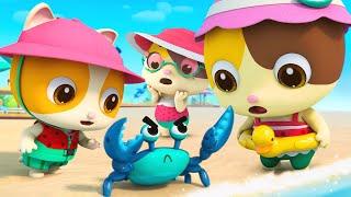 Keluarga Kucing Pergi Ke Pantai Yang Sangat Indah | Lagu Anak-anak | BabyBus Bahasa Indonesia