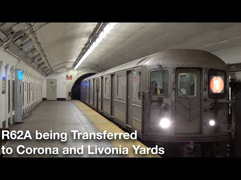 ⁴ᴷ R62A Cars from the (1) being Transferred to Corona and Livonia Yards