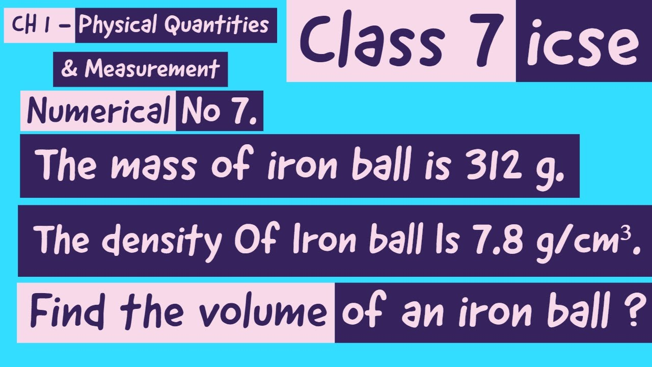 Class 7 // ICSE // Numerical no 7 // Ch 1 - YouTube