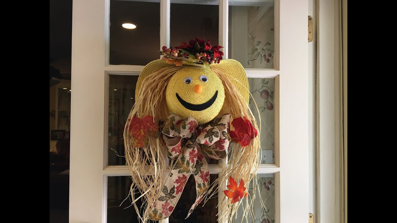 How to make a scarecrow face out of a straw hat tutorial - YouTube