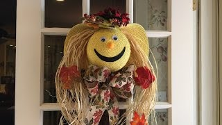 How to make a scarecrow face out of a straw hat tutorial Carefree b...