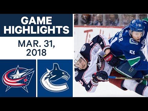 NHL Game Highlights | Blue Jackets vs. Canucks - Mar. 31, 2018