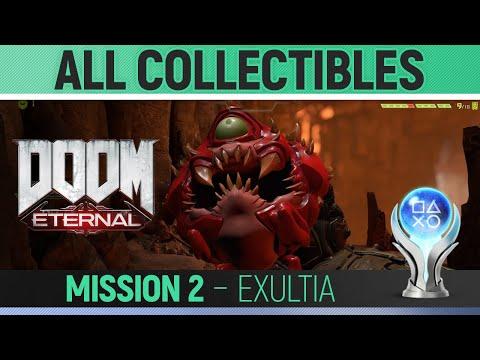 DOOM Eternal - All Collectibles - Mission 2 Exultia - 100% Secrets, Modbot, Extra Lifes, Keys, Etc
