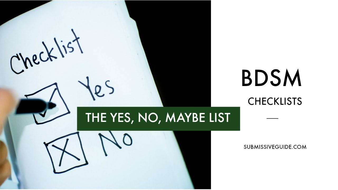 Bdsm yes no maybe list