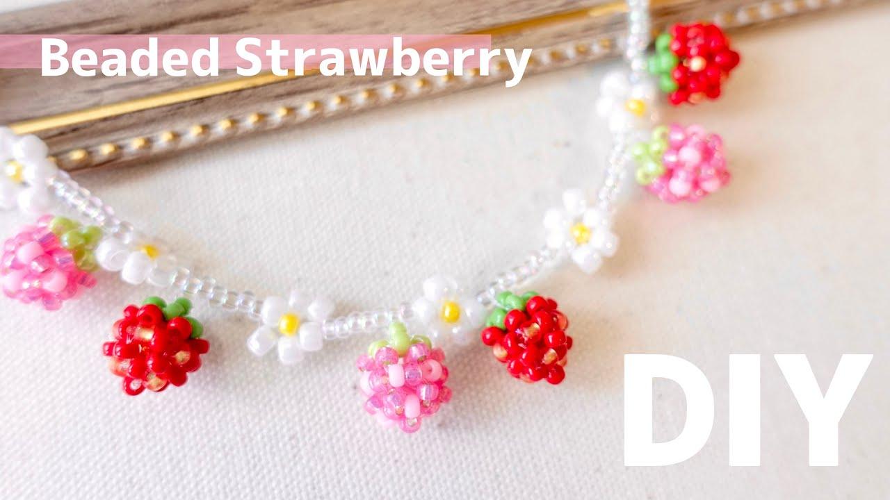 DIY🍓Beaded Strawberry Charm Tutorial 小さなストロベリーチャームの作り方♪ ビーズアクセサリー How to make Bracelet fruits いちご