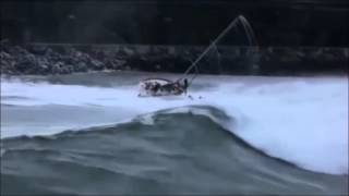 Sailboat capsized by enormous wave entering harbor!