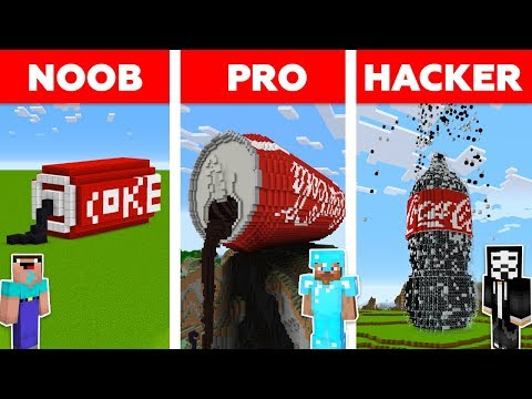 Minecraft NOOB Vs PRO Vs HACKER: COCA COLA BUILD CHALLENGE In Minecraft / Animation