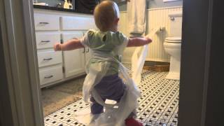 Toilet paper baby, 15 months