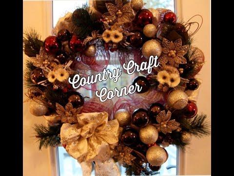 Christmas Ornament Garland Deco Mesh Wreath Tutorial Christmas