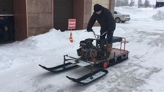 Доработка мотособаки до снегохода. Выезд Все