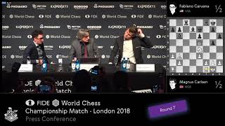World Chess Championship 2018 - Game 7 Press Conference - Carlsen Caruana