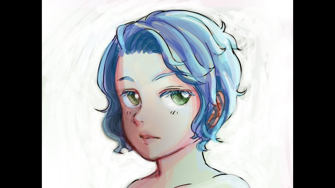 drawing time lapse blue hair wavy
