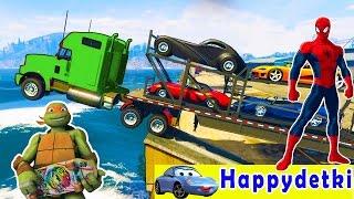 Большой трактор упал в воду, человек паук идет спасать  Мультики для детей, цветные машинки