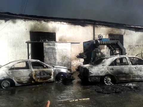 Dragon Pak firm in Industrial Area, Maseru, Lesotho catches on fire