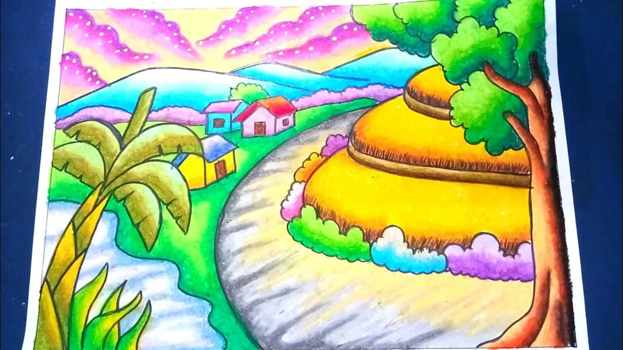 Menggambar Dan Mewarnai Pemandangan Alam Sawah 2 Dengan Gradasi Crayon