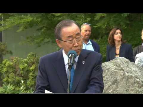Ban Ki-moon (UN Secretary-General) at Peace Bell Ceremony for the International Day of Peace