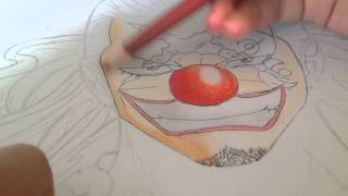 Speed drawing Buggy the Clown with color Part I (one piece)