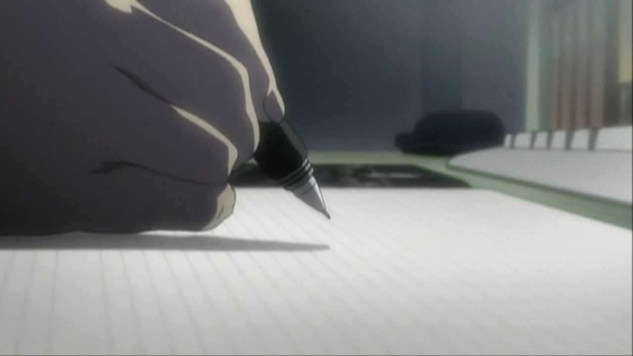 Light Yagami writing