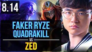 SKT T1 Faker - RYZE vs ZED (MID) ~ Quadrakill, KDA 4/1/5 ~ Korea Challenger ~ Patch 8.14