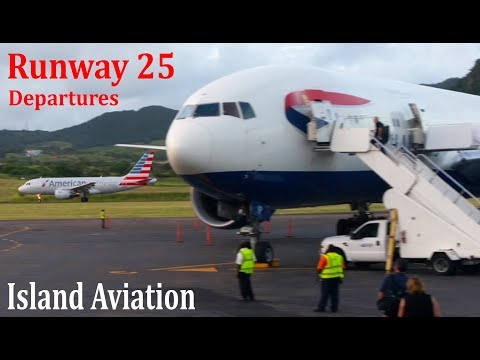 Apron View Runway 25 Departures !!! AA A319, AA 757, BA 777...@ St. Kitts Airport