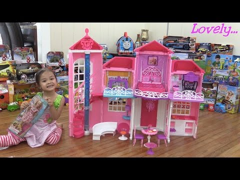 Toys for Little Girls: Barbie MALIBU House Unboxing, Assembling and Playtime w/ Maya