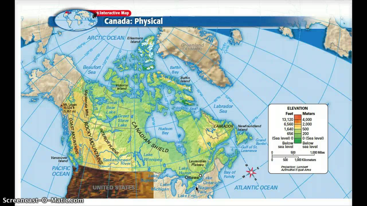 Physical And Political Features Of Canada YouTube - Physical features map of canada